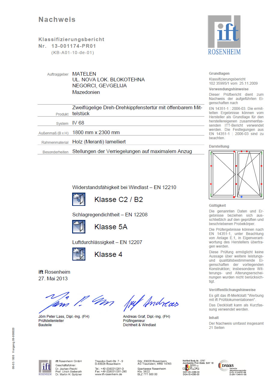 New certification from Rosenheim Institut
